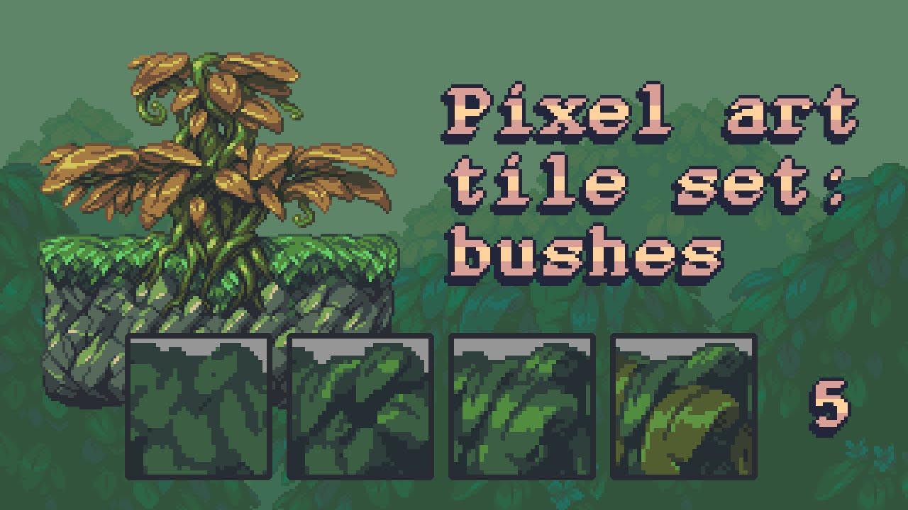 Pixel Art Tile Set Workflow Part 5 Bushes Background