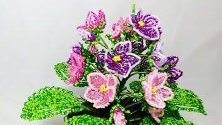 Мастер класс Фиалка из бисера. Часть 4, заключительная. Сборка, посадка и декор. Beaded violets