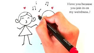 Quick & Easy 7 Cute couple drawings that anybody can draw for love greetings & valentine gifts