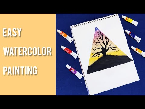Easy Watercolour Painting | Painting For Beginners | Tree scenery painting