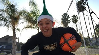 Playing soccer in my elf hat