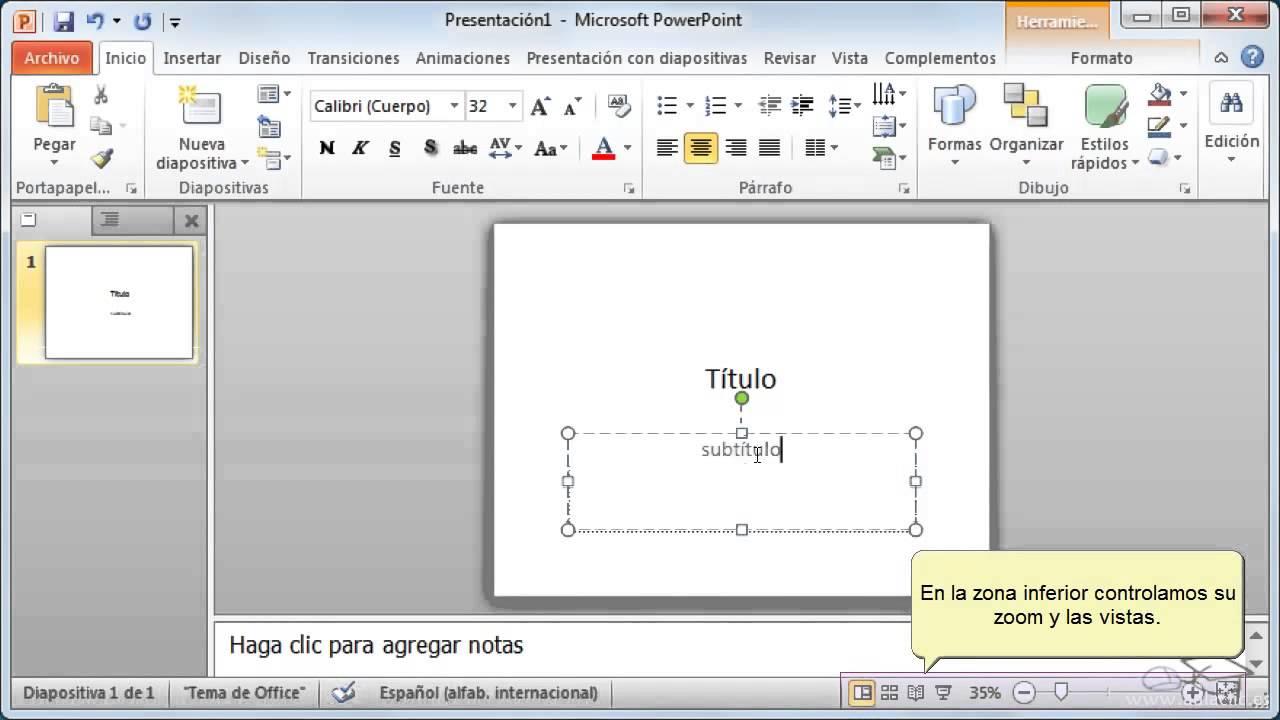 partes de la ventana de microsoft powerpoint 2013
