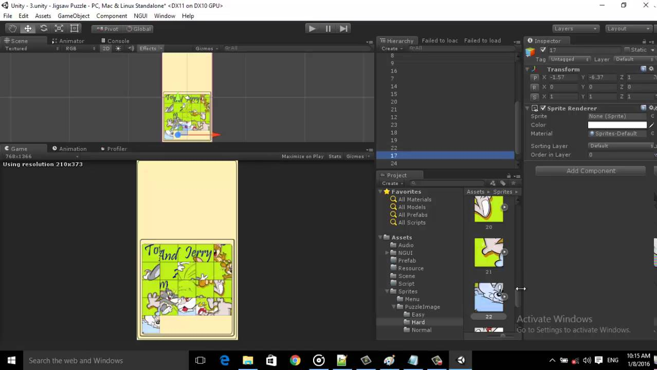 Unity 2D Tutorial how to crate jigsaw puzzle Game Part 4[2]