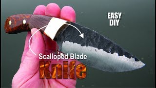 How to make a Knife with a dark scalloped blade texture