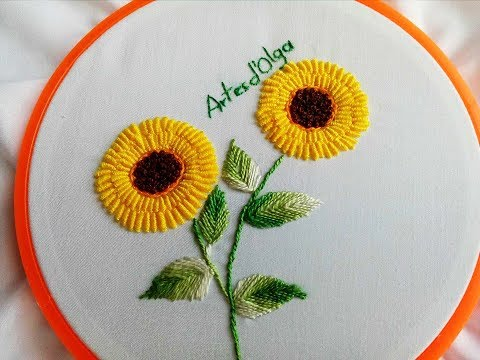 Bullion stitch sunflowersGirasoles en Puntada RococóHand Embroidery TutorialArtesd&39;Olga