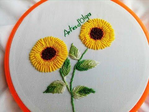 Bullion stitch sunflowersGirasoles en Puntada RococóHand Embroidery TutorialArtesdOlga