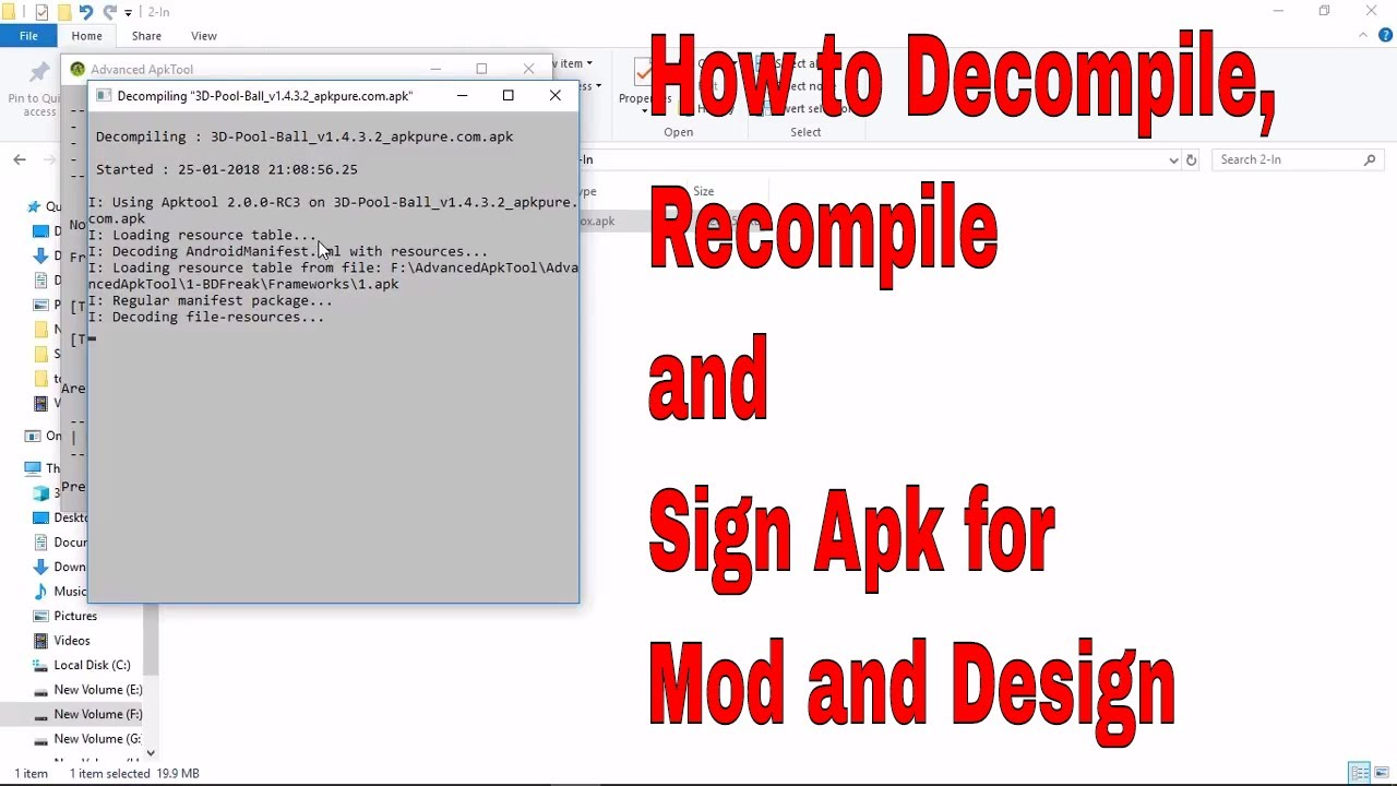 How to Setup and Decompile, Recompile, Sign APK Using Advance APKTool in PC  (To Mod APK Apps) 2018