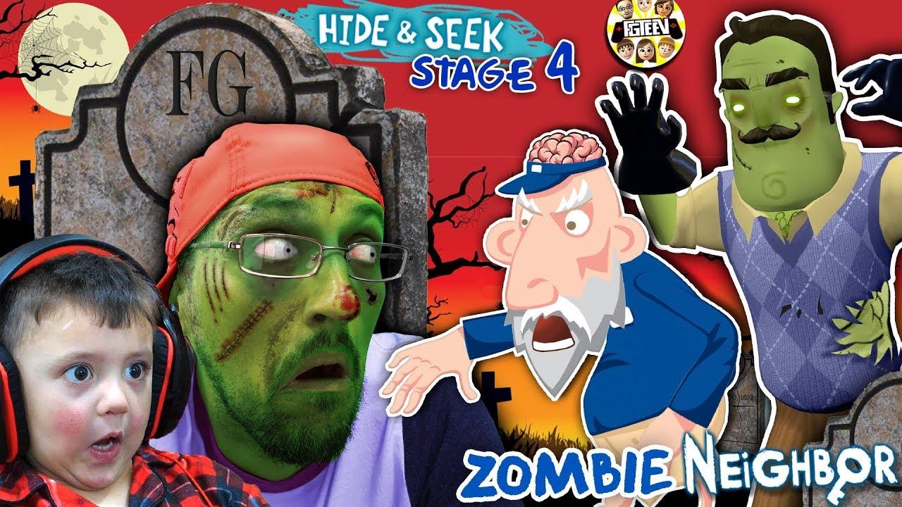 ZOMBIE HIDE n SEEK Hello Neighbor! Stage 4 BRAINZZZZ (Gameplay  Skit)