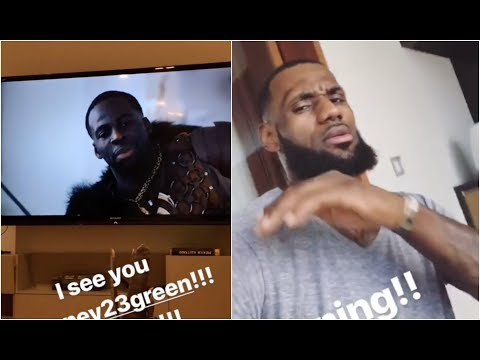 LeBron is trying to relax with his kids at home, but can't escape Draymond Green on the TV