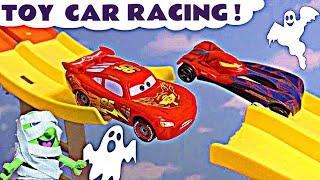 Spooky Halloween Race with Hot Wheels Superhero Cars and Disney Pixar Lightning McQueen