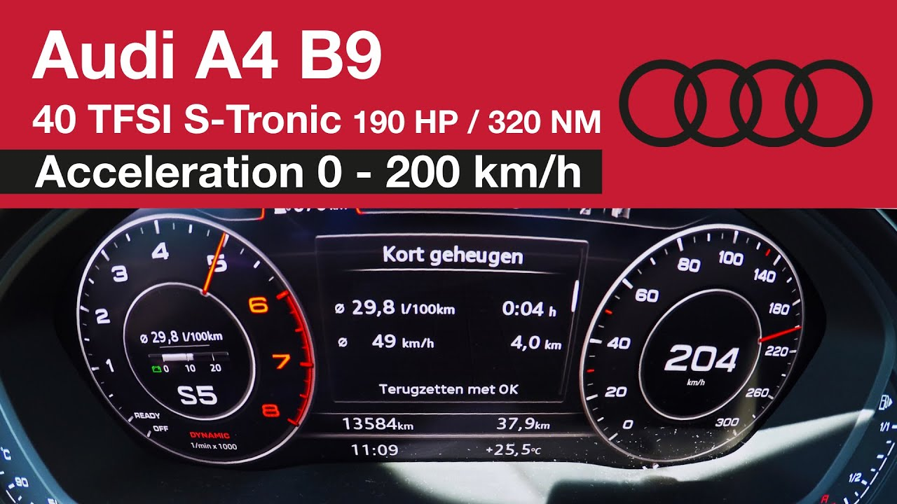 Audi A4 B9 40 Tfsi Acceleration 0 200 Km H 190 Hp Launch