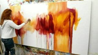 "Abstract acrylic painting Demo - Abstrakte Malerei ""Flüsterzeit"" by Zacher-Finet"