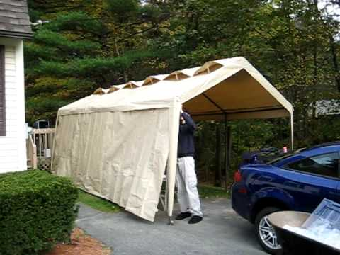 & Time Lapse - Building a Garage Tent - YouTube