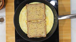 ONE PAN FRENCH TOAST OMELETTE SANDWICH HACK RECIPE  TIKTOK TREND (Easy Quarantine Recipe)