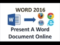 Word 2016 - Present a Word Document Online - How To Use Microsoft Office 365 Presentation Service