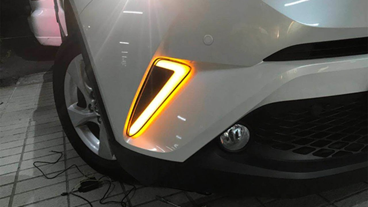 2017 toyota chr front bumper led light bar daytime running light youtube. Black Bedroom Furniture Sets. Home Design Ideas