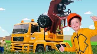 Машинка BRUDER перевернулась Строительный грузовик приехал помогать