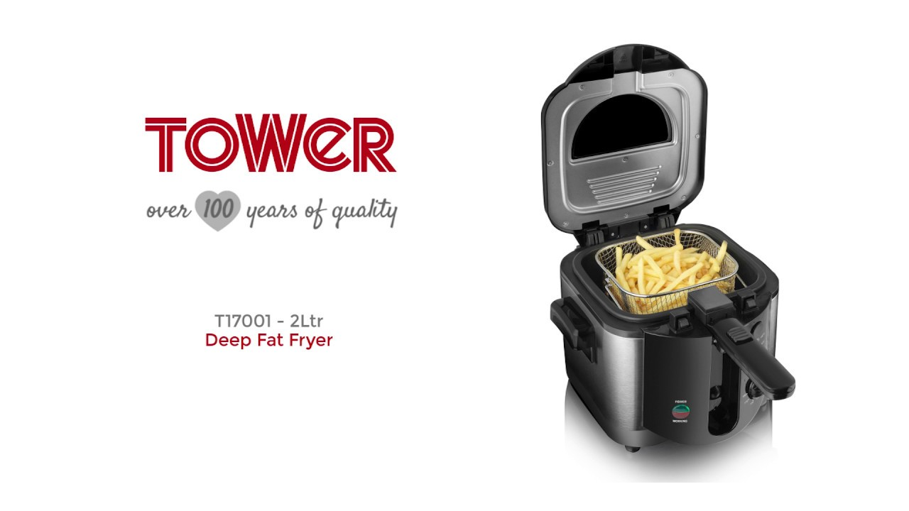 Tower T17001 Easy Clean Deep Fat Fryer 2Ltr in Black Brand New 1500 W