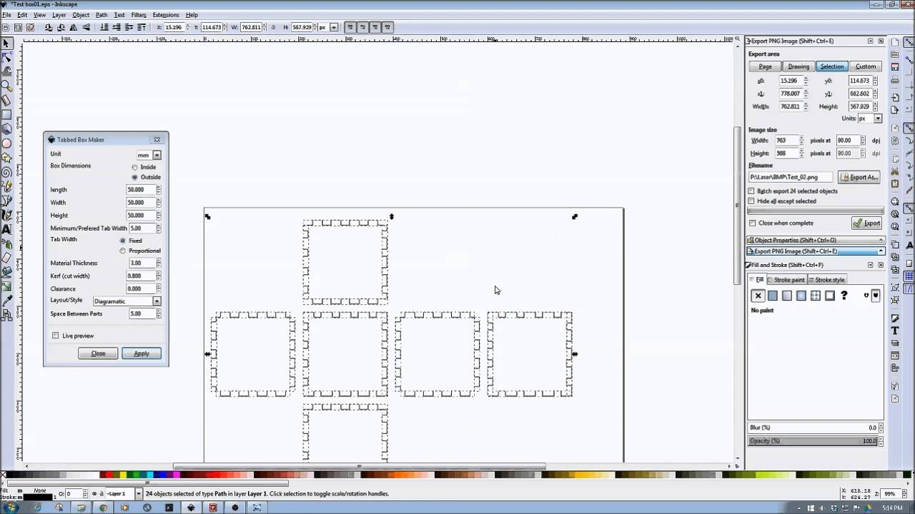 Inkscape Laser Tutorials Using The Tabbed Box Extension