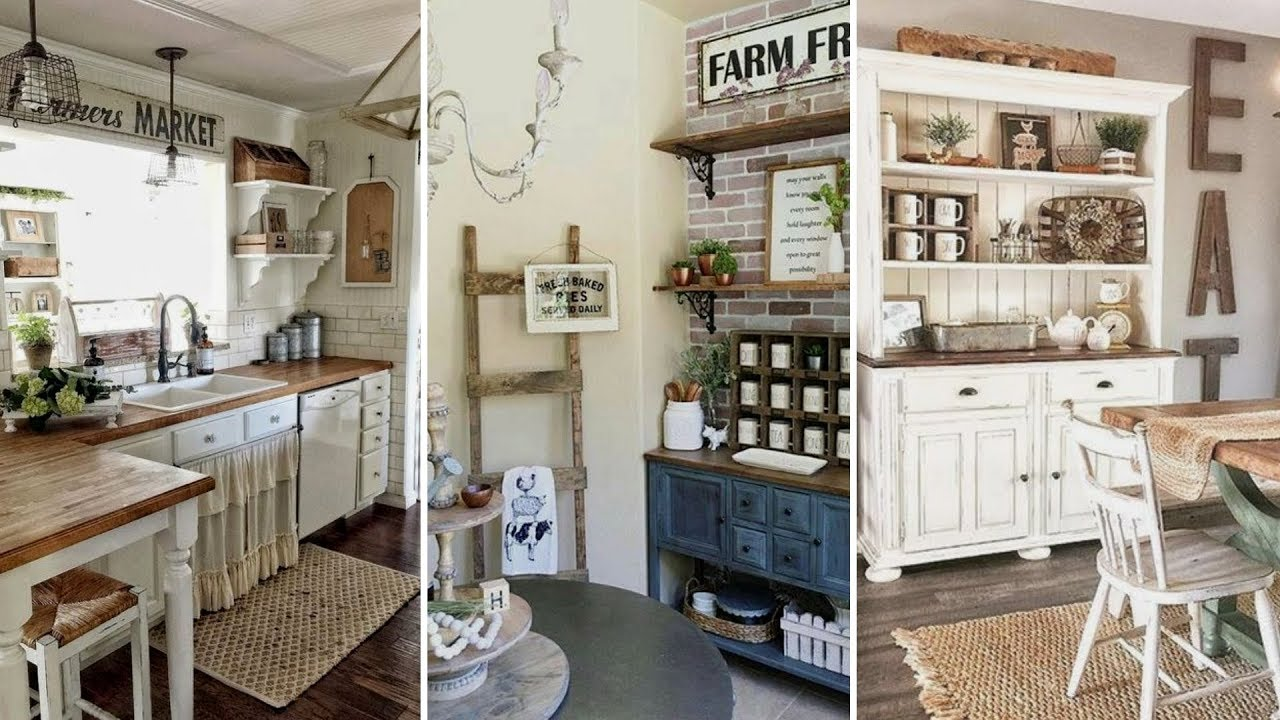 DIY Rustic Farmhouse style Kitchen decor Ideas | Home ... on Rustic Farmhouse Kitchen  id=48803