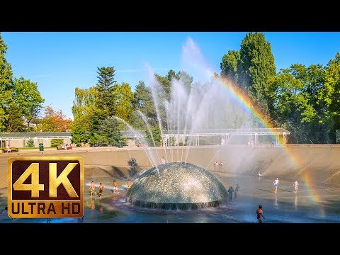 (2 Hours) 4K City Relax Video with Soothing Music - International Fountain in Seattle