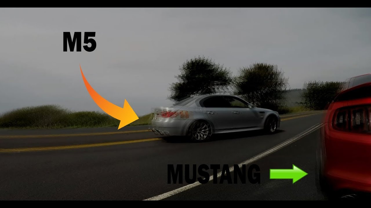 M5 Pulls a Mustang... Nearly Hits One!