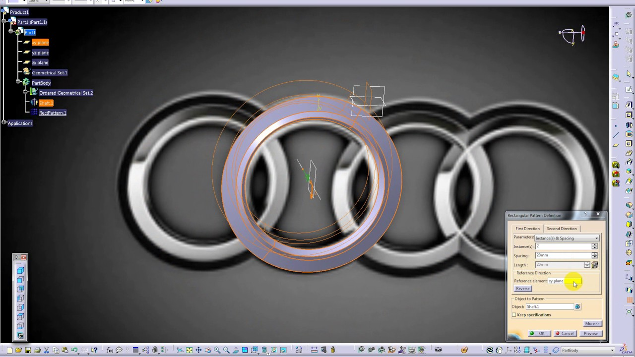 Catia V5 Tutorial for beginners: Audi logo | Render