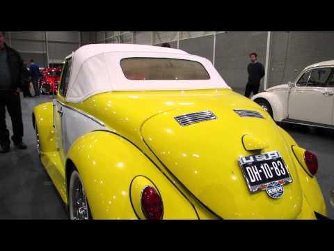 vw beetle yellow white convertible @ kwf maastricht 2014