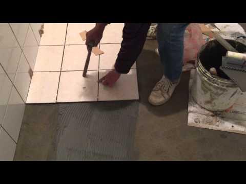 Floor Tile Installation in Bathroom, Part 2   (左官)
