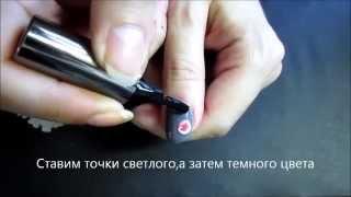 Простой рисунок на ногтях иглой.Роза2