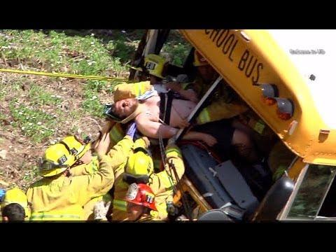 Anaheim School Bus Crash 3 Critical Jaws of Life Charter School Accident