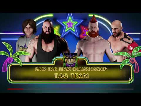 WWE 2K18 Braun Strowman,Nicholas VS Sheamus,Cesaro Elimination Tag Match Raw Tag Titles
