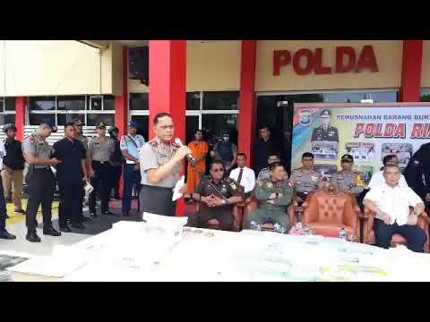 Press Release Pemusnahan Barang Bukti Narkoba Polda Riau