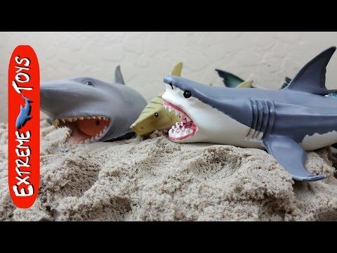 Surprise Shark toys hidden in Kinetic Sand!