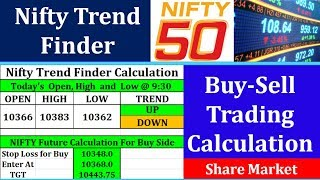 Nifty Trend Finder Calculation in Share Market    Intraday Nifty Future and Option Trading Calculati