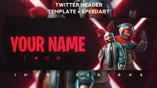 Epic Fortnite Twitter Header #2 Template PSD + Speedart *FREE*