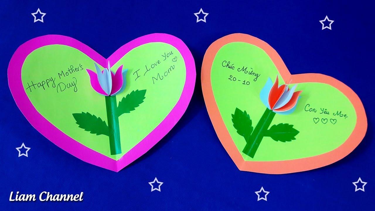 Làm thiệp tặng mẹ ngày 20/10 rất đơn giản | DIY Mothers Day Card | Liam Channel