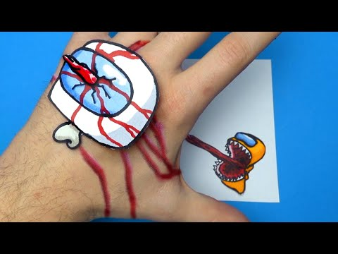 Don't Catch Me - 3D Drawing Illusion | AMONG US ARTS & PAPER CRAFTS