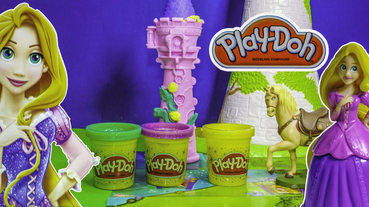 Playing With The Play Doh Princess Rapunzel Tower Playset Youtube