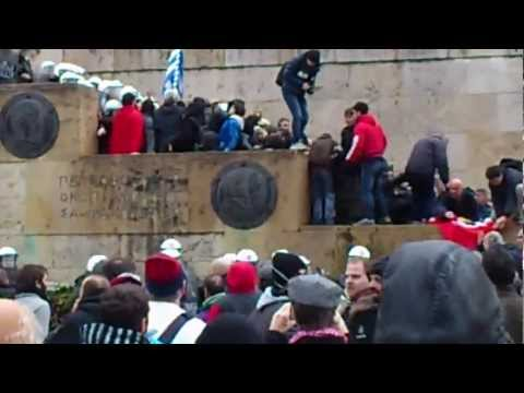 Demonstration in Athens, 7 February 2012-Burning the German flag in front of the Parliament.mp4