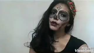 Maquiagem de Halloween, caveira mexicana MEGA diferente!!