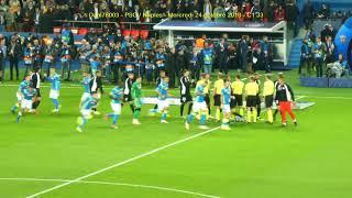 PSG / Naples 24.10.2018 : 2-2 (C1 J3) 4/5 : Entrée équipes avec tifo Auteuil