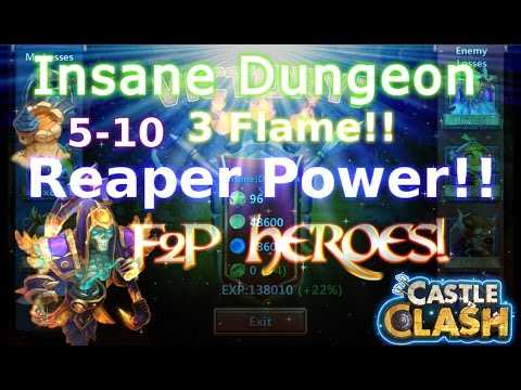 Castle Clash 3Flame Insane Dungeon 5-10_ Strategy_F2P Account