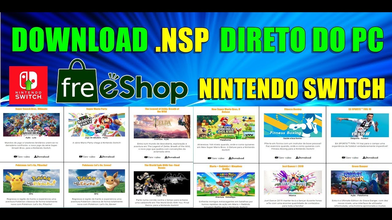 FREE ESHOP NINTENDO SWITCH DOWNLOAD JOGOS  NSP DIRETO DO PC