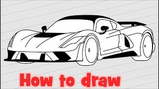 How to draw sports car Hennessey Venom F5