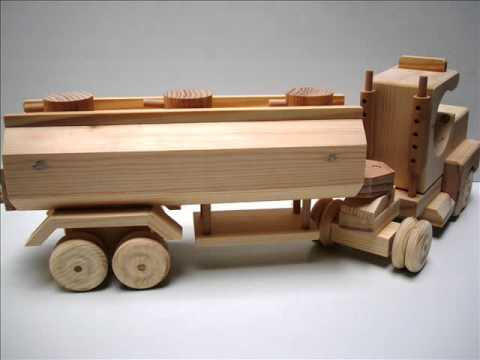 Wooden toy kit - Tractor cab with tank trailer - YouTube