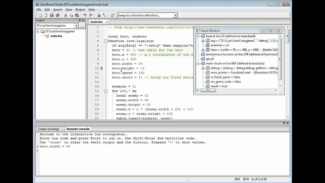 Tutorials - ZeroBrane Studio - Lua IDE/editor/debugger for