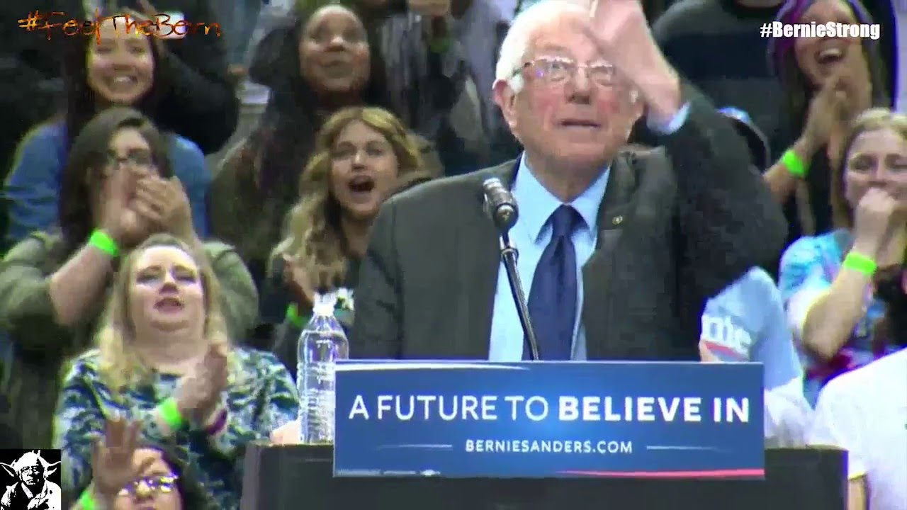 bird lands on bernie sanders podium crowd goes wild both views full