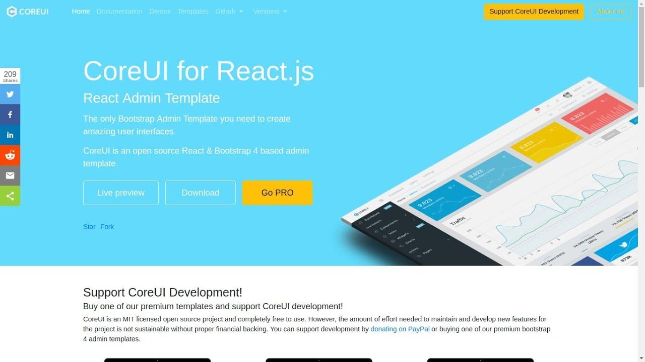 CoreUI for React js- React Admin Template (Bootstrap)