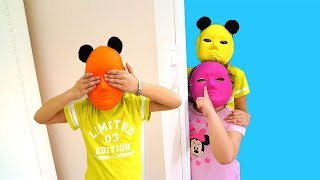Colorful  toy masks  pretend play funny kids - hide and seek